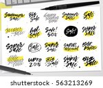 set of handwritten sale... | Shutterstock .eps vector #563213269