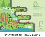 infographic green ecology city... | Shutterstock .eps vector #563216041