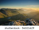 Sunrise Over Mountains In The...