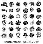 set of rose silhouettes design...