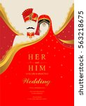 indian wedding invitation card... | Shutterstock .eps vector #563218675