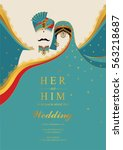 indian wedding invitation card... | Shutterstock .eps vector #563218687