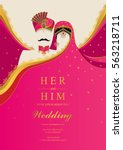 indian wedding invitation card... | Shutterstock .eps vector #563218711