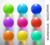 set of glossy colored balls on... | Shutterstock .eps vector #563219545