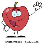 red apple waving a greeting | Shutterstock .eps vector #56322226
