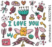 hand drawn vector set with... | Shutterstock .eps vector #563227801