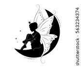 silhouette of beautiful fairy.... | Shutterstock .eps vector #563234374