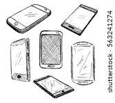sketch different phones ... | Shutterstock .eps vector #563241274