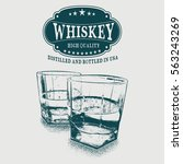 sketch whiskey logo and two... | Shutterstock .eps vector #563243269