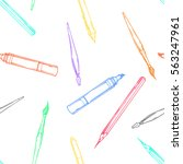 cartoon pencil  pen  marker ... | Shutterstock .eps vector #563247961