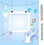 baby boy shower card. arrival... | Shutterstock .eps vector #563250595