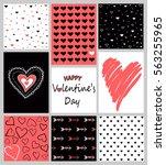 vector set of valentine's day... | Shutterstock .eps vector #563255965