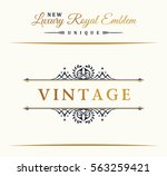 calligraphic luxury line logo.... | Shutterstock .eps vector #563259421