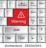 computer keyboard with warning | Shutterstock . vector #563262541
