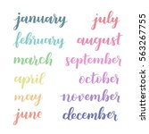 calligraphic set of months of... | Shutterstock .eps vector #563267755