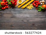 pasta background. several types ... | Shutterstock . vector #563277424