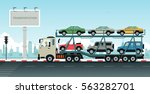truck transport vehicles with... | Shutterstock .eps vector #563282701