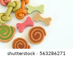 Stock photo delicious of dog biscuits dog snack or dog chew copy space on the white can use background 563286271