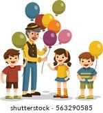 illustration of happy little... | Shutterstock .eps vector #563290585