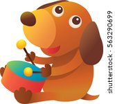 a cute dog play the drum on a... | Shutterstock .eps vector #563290699