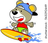 bear playing surf in the coast... | Shutterstock .eps vector #563292649