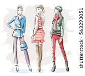 hand drawn fashion young women. ... | Shutterstock .eps vector #563293051