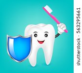 happy smiling tooth with... | Shutterstock .eps vector #563295661
