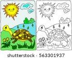 coloring  book.  summer. ... | Shutterstock .eps vector #563301937