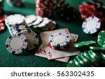 poker chips on the table | Shutterstock . vector #563302435
