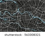 black and white vector city map ... | Shutterstock .eps vector #563308321
