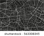 black and white vector city map ... | Shutterstock .eps vector #563308345