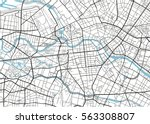 black and white vector city map ... | Shutterstock .eps vector #563308807