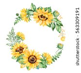 colorful floral wreath with... | Shutterstock . vector #563309191