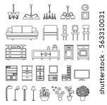 furniture line art icons   Shutterstock .eps vector #563310031