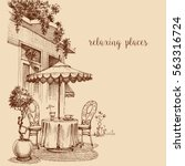 restaurant exterior sketch ... | Shutterstock .eps vector #563316724