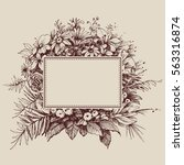 vintage floral frame with space ... | Shutterstock .eps vector #563316874
