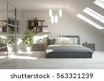 white modern bedroom.... | Shutterstock . vector #563321239