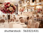 large pink bouquet of... | Shutterstock . vector #563321431