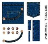 jeans and buttons. vector... | Shutterstock .eps vector #563321881