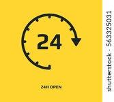 open 24 hours vector icon. non... | Shutterstock .eps vector #563325031
