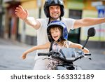 father with daughter have fun... | Shutterstock . vector #563332189