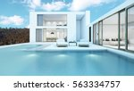 house with pool design minimal  ... | Shutterstock . vector #563334757