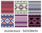 set of seamless vector... | Shutterstock .eps vector #563338654