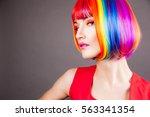 beautiful woman wearing... | Shutterstock . vector #563341354