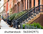 Row Of Old Brownstone Buildings ...