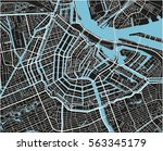 black and white vector city map ... | Shutterstock .eps vector #563345179