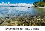 Crystal clear water of Lake Taupo in the North Island of New Zealand - stock photo