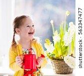 Cute Girl Watering First Spring ...