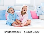 happy laughing kids  boy and... | Shutterstock . vector #563352229
