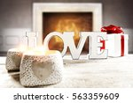 wooden desk space and fireplace ... | Shutterstock . vector #563359609